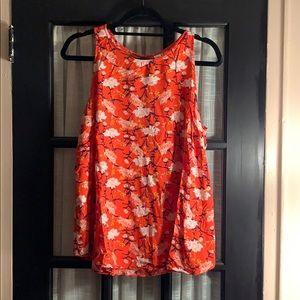 Sleeveless orange floral top